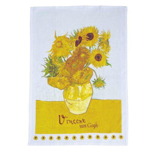 Theedoek kunstwerk de Zonnebloemen van Vincent van Gogh