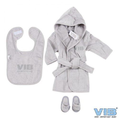 VIB giftset baby badjas slab en slofjes in grijs