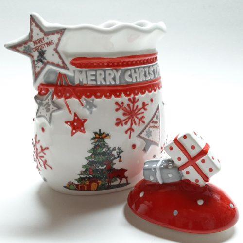 Voorraadbus kerst in wit met rode deksel van keramiek met 3D cadeaus en ster