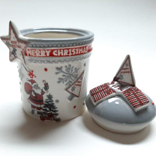Voorraadpot kerst grijs met kerstman kerstster en merry christmas