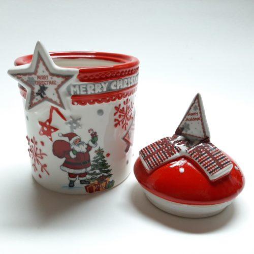 Voorraadpot kerst rood met kerstman kerstster en merry christmas