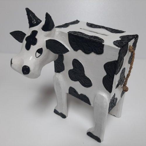 Fairtrade handgemaakte spaarpot koe van hout zwart wit