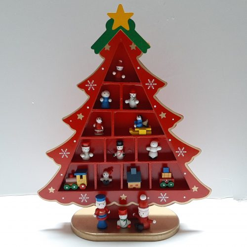 Houten kerstboom letterbak rood 26,5cm hoog
