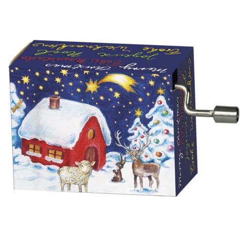 Muziekdoosje kerst winterlandschap met vallende ster