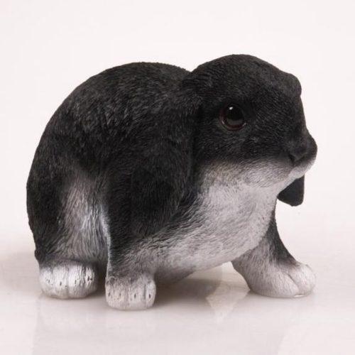 Beeldje konijn langoor zwart en wit 22 cm