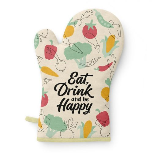Ovenhandschoen Eat drink and be happy