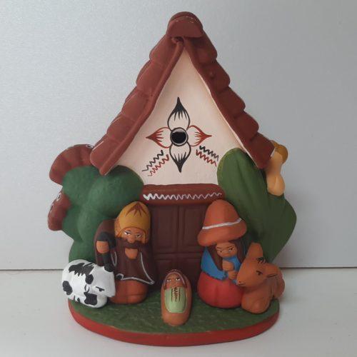 Kerststal van aardewerk, fairtrade uit Peru, 10 cm