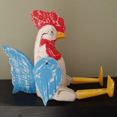 Fairtrade beeld kip van hout blauw-wit met beweegbare poten en vleugels