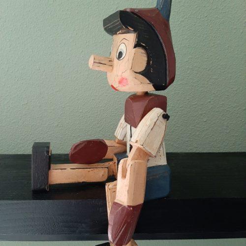 Fairtrade pop-beeld houten Pinokkio met beweegbare armen en benen