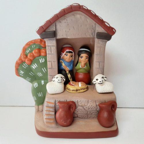 Kerststal 11cm in aardetinten fairtrade gemaakt in Peru Barbosa HN081
