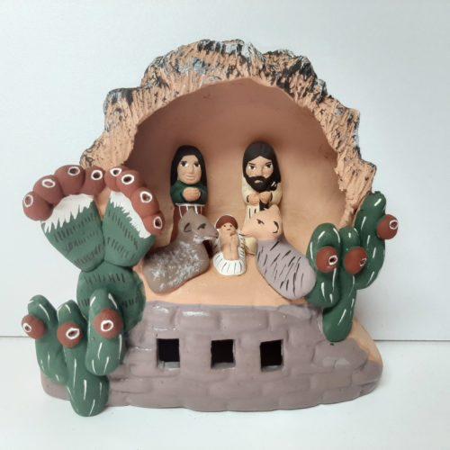 Kerststal van roodbruin aardewerk, fairtrade uit Peru, 11 cm Barbosa-HN028