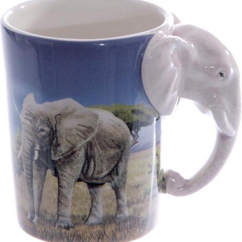 Mok olifant Savanne met slurf en kop als 3D oor