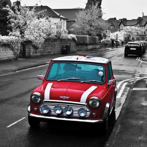 Onderzetters auto's Mini Cooper in kleur en zwart wit