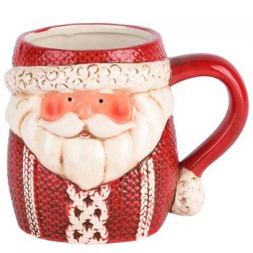 Mok kerst - Santa met gebreide kabeltrui