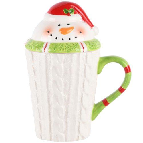 Mok kerst sneeuwman met deksel