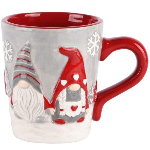 Mok kerst in rood grijs met Santa kabouters