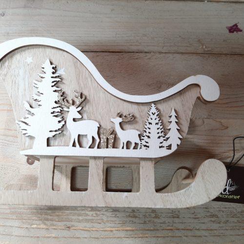 Houten arrenslee houtsnijwerk - kerst decoratie