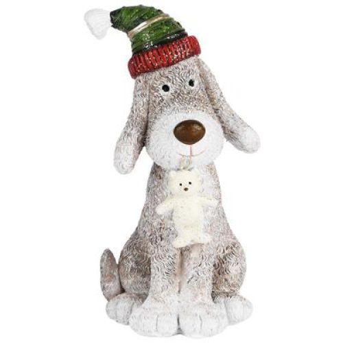 Beeldje hond met wintermuts 14cm hoog