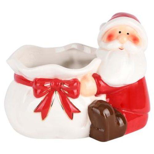 Decoratieve kerstman met voorraad cadeau zak van keramiek