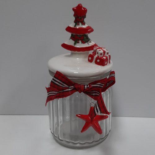 Glazen voorraadpot kerst met strik en kerstboom