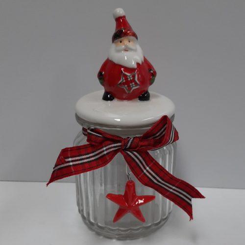 Glazen voorraadpot kerst met strik en kerstman