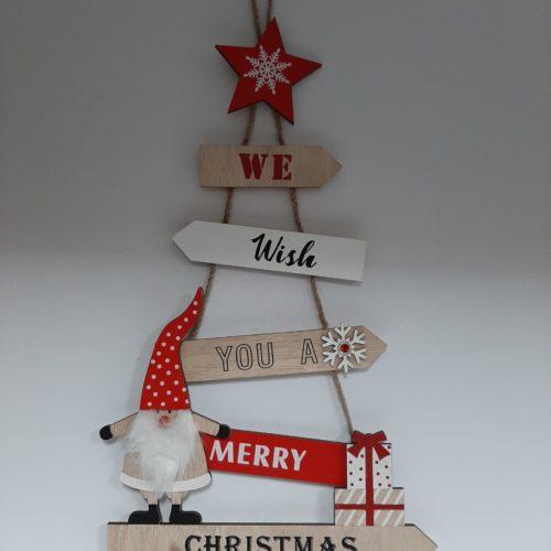 Houten hanger kerstboom We wish you a merry Christmas