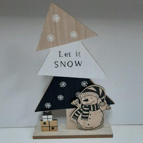 Houten kerstboom 30 cm hoog met tekst Let it snow