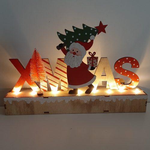 Houten letters Xmas color - Kerst decoratie met led