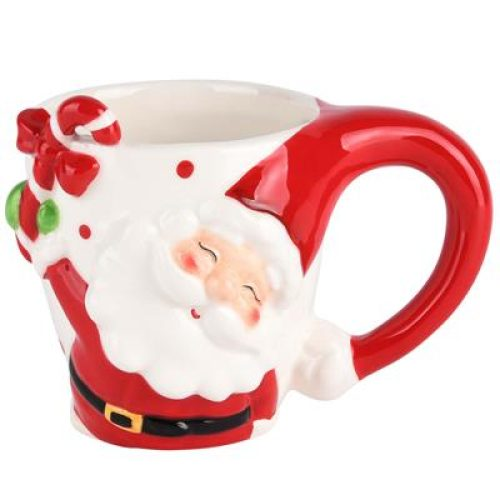 Kerst mok Santa 3D met candy cane