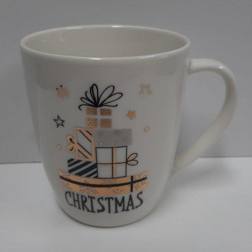 Mok kerst - Merry Christmas wit met cadeautjes