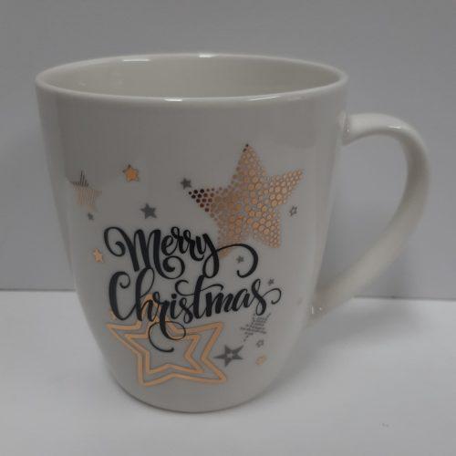 Mok kerst - Merry Christmas wit met sterren