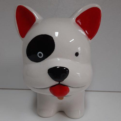 Spaarpot witte hond met rode oortjes en zwarte vlek bij het oog