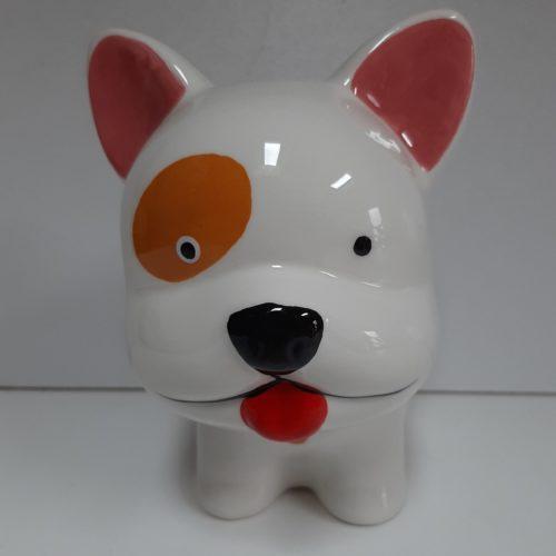 Spaarpot witte hond met roze oortjes en oranje vlek bij het oog