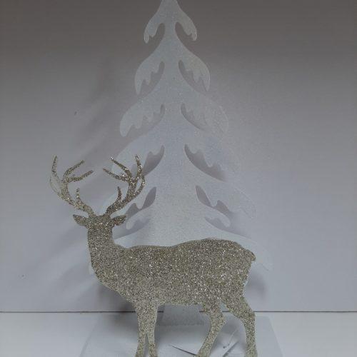 Theelichthouder kerst witte kerstboom met gouden staande rendier opzij