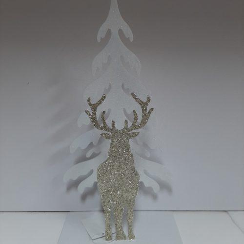 Theelichthouder kerst witte kerstboom met gouden staande rendier voor