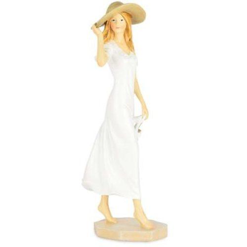 Beeldje klassieke dame met hoed 24cm hoog