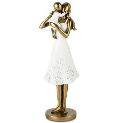 Beeldje moeder met kind in bronskleur en wit 24cm hoog