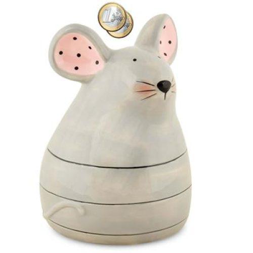 Spaarpot muis grijs met roze details