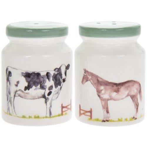 Peper en zout stel Country life boerderij met paard en koe