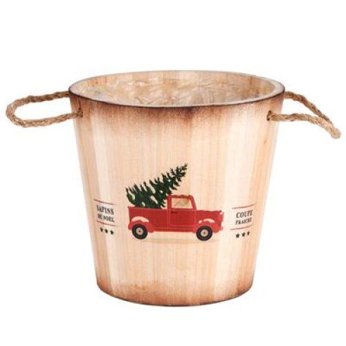 Decoratieve houten, ronde kerst plantenbak of opbergmand Car