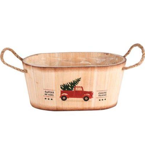 Decoratieve houten, ovalen kerst plantenbak of opbergmand Car