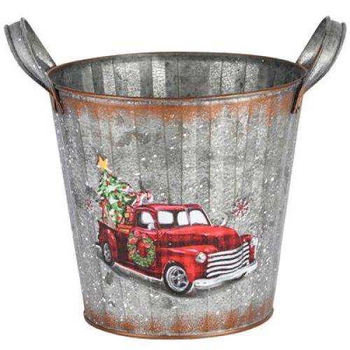 Decoratieve metalen kerst emmer Car