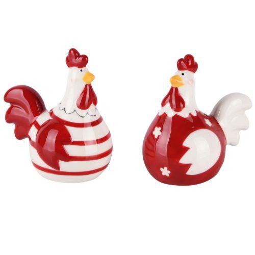Peper en zout stel kippen in het rood en wit