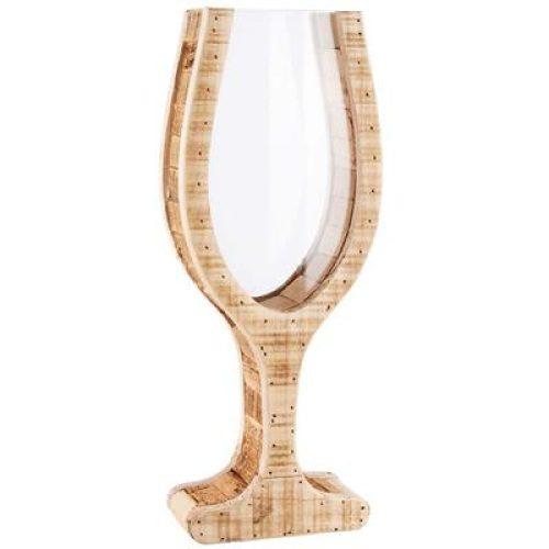 Groot houten wijnglas om kurken in te bewaren